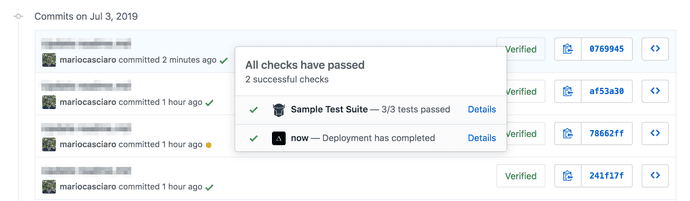Test results on Github